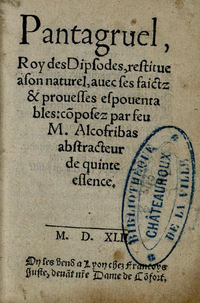 Rabelais, Pantagruel, Lyon 1542,  « page de titre », sur le site des bibliothèques virtuelles humanistes.