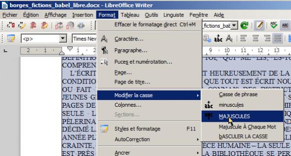 LibreOffice, changer la casse