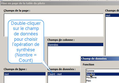 LibreOffice, DataPilot, obtenir le comptage des doublons.